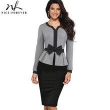لطيفة للأبد الشتاء أنيقة التباين اللون خليط مكتب القوس vestidos مع طويلة الأكمام الأعمال Bodycon النساء اللباس B554