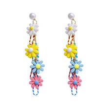 Japanese and Korean Girl Sweet Lovely Candy Color Flower Earrings Female