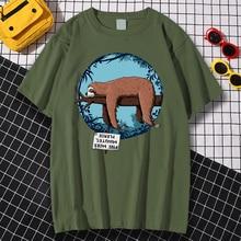 Sleeping Sloth Personality Print T Shirts Men's Fashion Loose Tshirt Crewneck Breathable Tops Summer Oversize Streetwear Men New