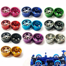 4 PCS Large Diameter Wheel Hubs/Tires Metal Wheels Spare Parts For Tamiya Mini 4WD Racing Car Model