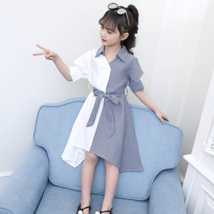 Image 2 - בנות שמלת פסים טלאים המפלגה שמלת לילדה להנמיך צווארון ילדים שמלה עם Bow חגורת סתיו חידוש תלבושות עבור בנות