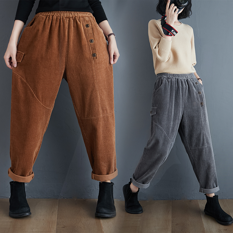 Corduroy Harem Pants Women 2020 New Autumn Winter Plus Size Elastic High Waist Casual Slim Fit All-match Capri Baggy Pants