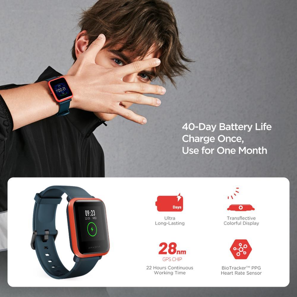 В наличии 2020 Global Amazfit Bip S Smartwatch 5ATM водонепроницаемые встроенные GPS GLONASS Bluetooth Смарт-часы для Android iOS Phone-3