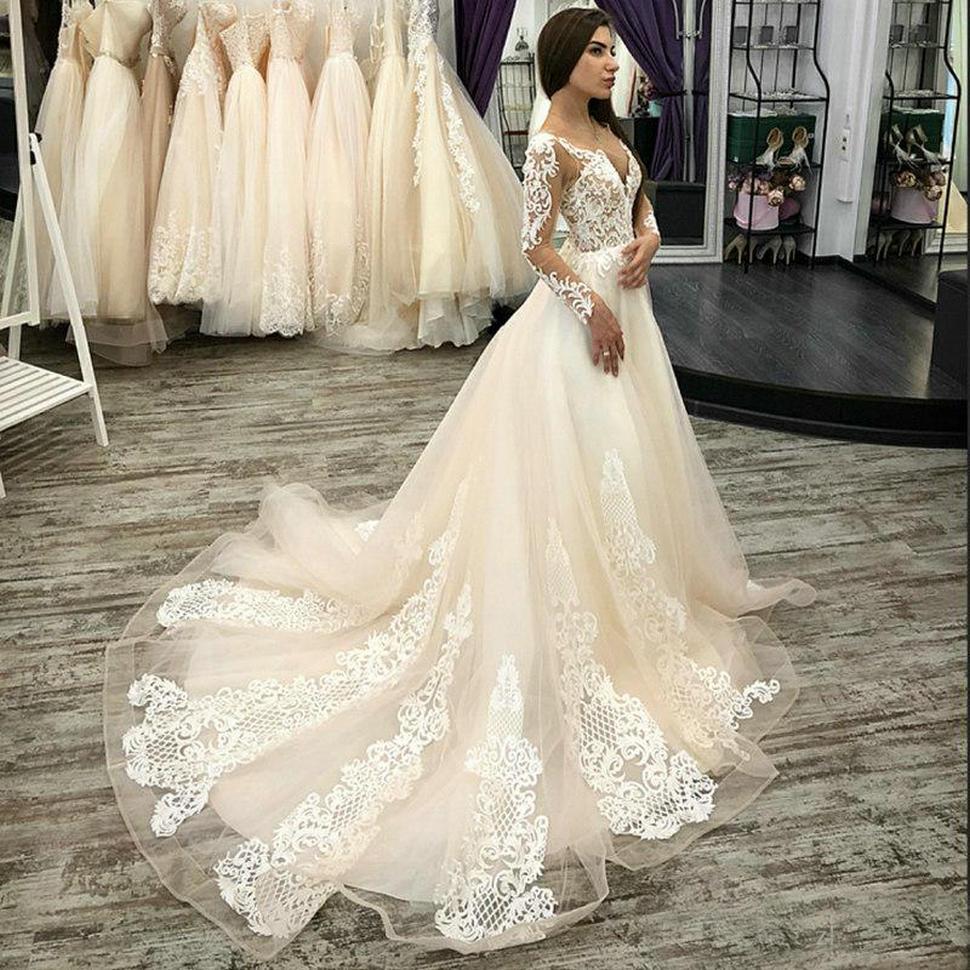 Vestido De Noiva Tulle Long Sleeve Wedding Dress 2020 Appliques Lace Bridal Gowns Custom Made Back Button Bride Dresses