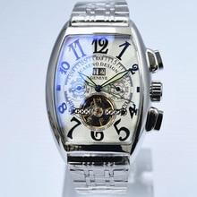 Tourbillon นาฬิกา Mens Skeleton Automatic Mechanical นาฬิกาผู้ชายแบรนด์หรูทหารกีฬานาฬิกาสแตนเลสชายนาฬิกา