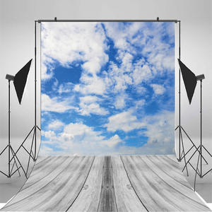Image 2 - Yeele Brick Wall Gray Wooden Floor Blue Sky Cloud Baby Portrait Photographic Backgrounds Photography Backdrops For Photo Studio