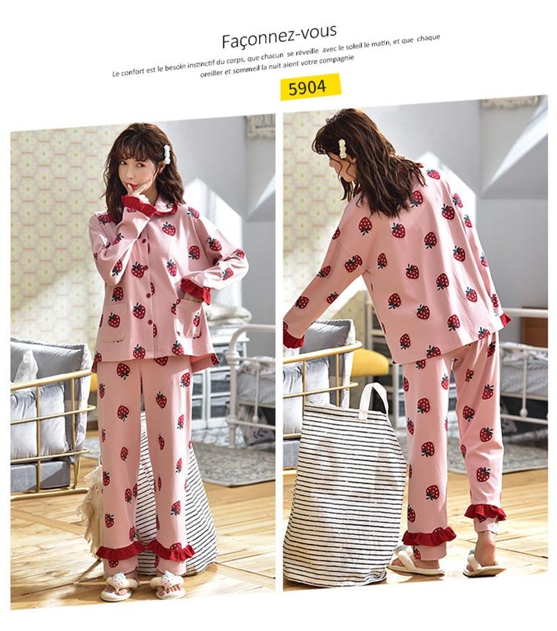 Tonmodi Дамский пижамный комплект весна и осень тонкий японский сладкий мультфильм печати с длинным рукавом милый Кукла Пижама с воротником Повседневная
