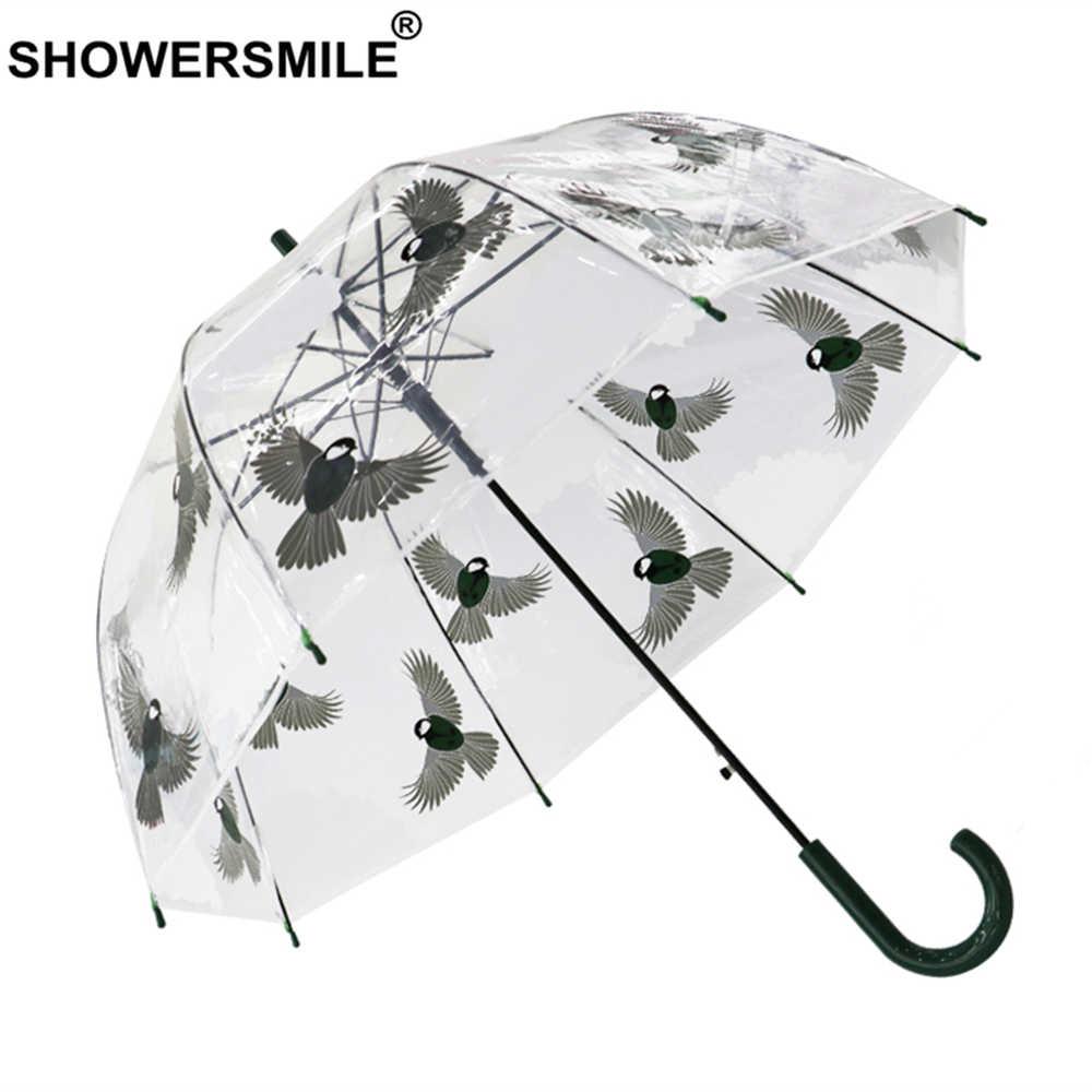Showersmile claro guarda-chuva chuva feminino alça longa transparente guarda-chuva automático senhoras pendurado pássaro pintados à mão guarda-sóis