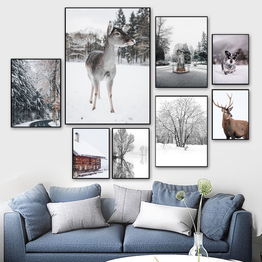 Wall Art Canvas Painting Winter Forest House Deer Dog Dead Tree Nordic Posters And Prints Wall Pictures For Living Room Decor image