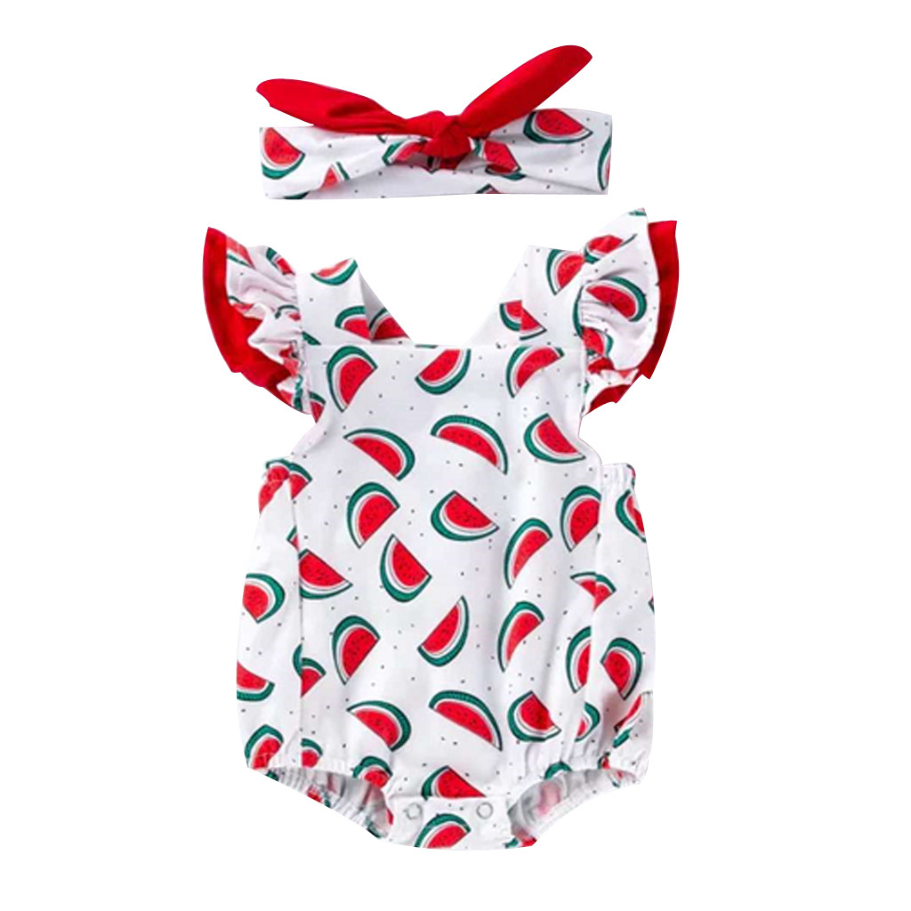 Children Kids Bodysuit Toddler Girls Ruched Watermelon Print Romper Summer Infant Baby Bodysuit Clothes+Hairband Outfits #BL2