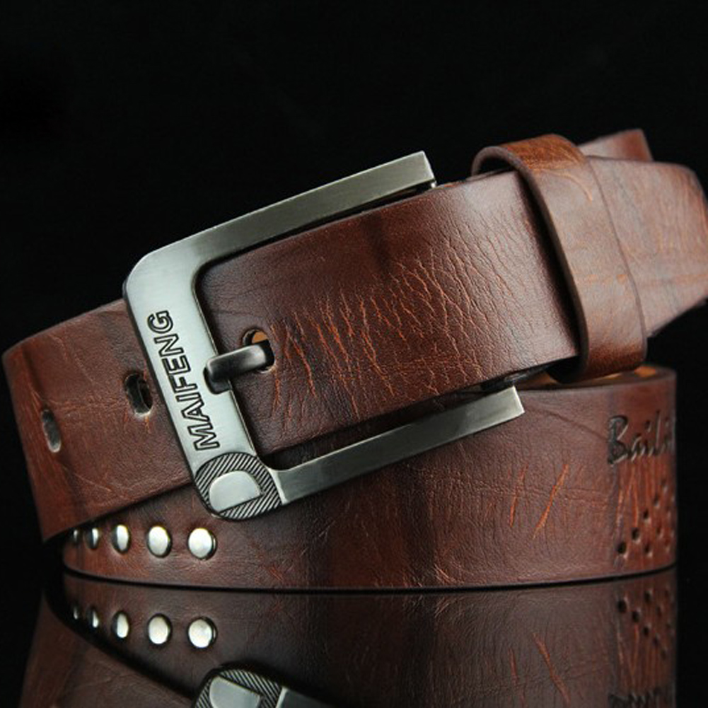 Genuine Leather Buckle Belt Classic Pin Buckle Men's Belt Punk Waist Belt Vintage Metal Embossing Mens Belts New Black Belt 2019