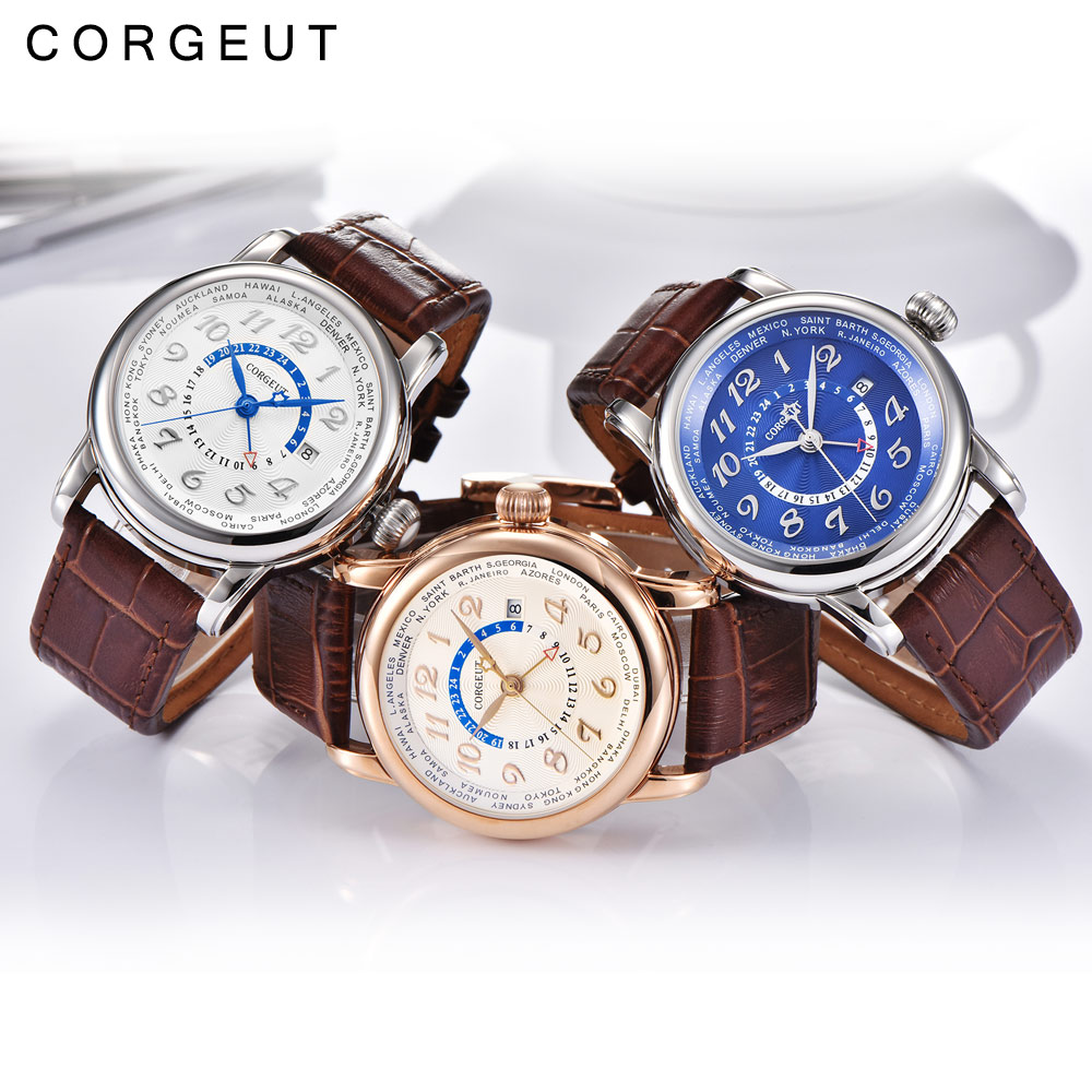 Corgeut Luxury Brand Mechanical Watch Fashion Leather Top Dual time zone GMT Automatic Men Watch Leather