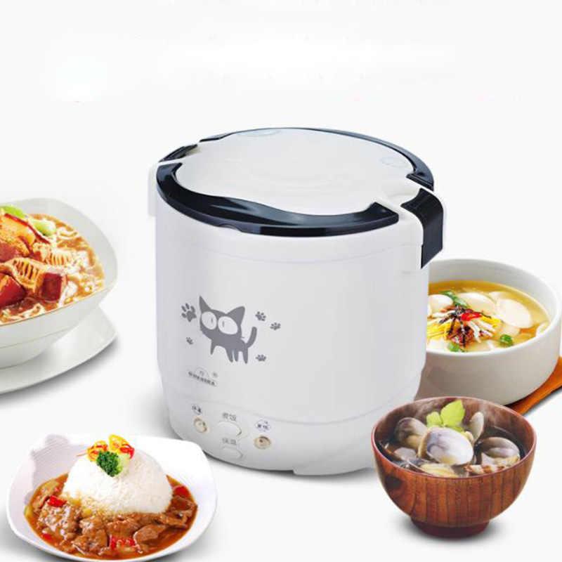 1L المحمولة وعاء الطبخ في المنزل 220 فولت 24/12 فولت سيارة كهربائية موقد صغير لطهي الأرز متعددة الوظائف صندوق غداء كهربي لشخصين