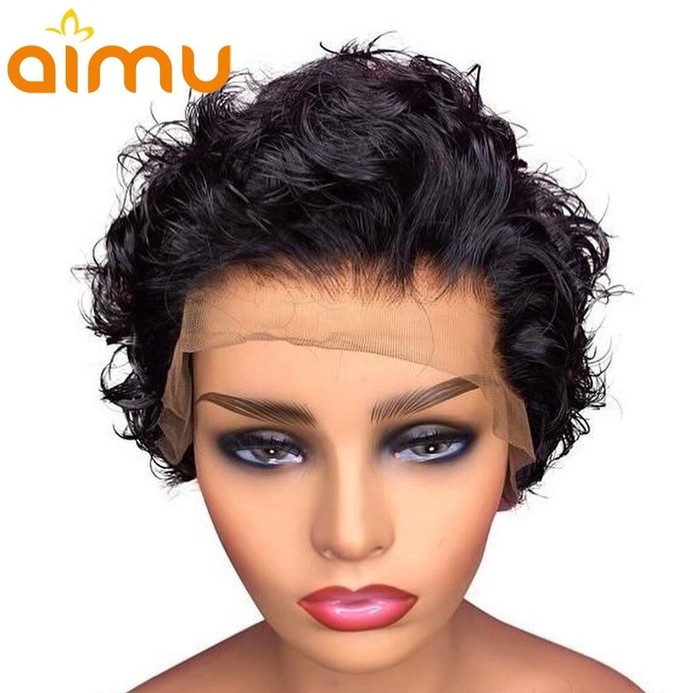 Peluca de corte Pixie, pelucas de Bob corto, peluca de cabello humano Frontal de encaje mojado y ondulado, peluca Frontal de encaje 13x4, cabello Remy brasileño de densidad 130%