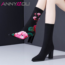 ANNYMOLI Autumn Mid Calf Boots Women Boots Flower Thick High Heels Sock Boots Knitting Pointed Toe Shoes Ladies Black Size 34-41 original intention new gorgeous women mid calf boots pointed toe metal thin heels boots black red shoes woman us size 4 10 5