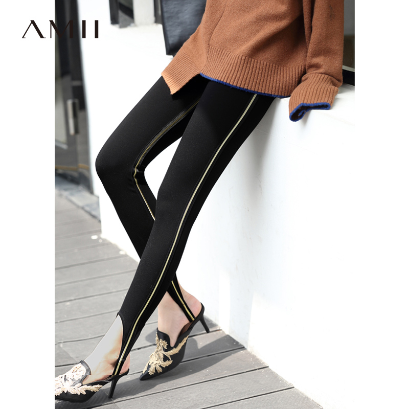 Amii Minimalist Side Stripe Leggings Winter Women Solid Slim Fit Knit Pants 11830210