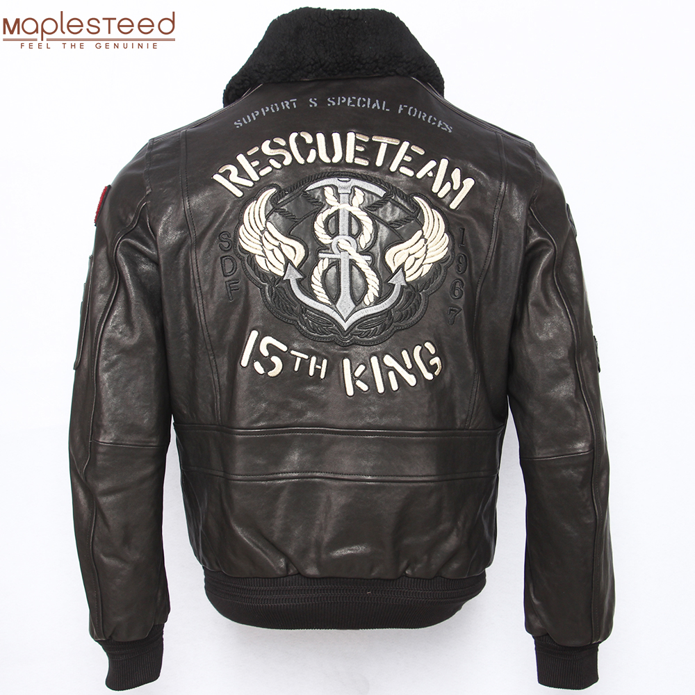 Embroidery Men Leather Jacket Soft 100% Tanned Sheepskin Real Fur Collar Flight Jackets Military Pilot Skin Coat Autumn M438
