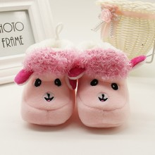 1 Pair Winter Warm Baby Shoes Cartoon Alpaca Soft Bottom Non