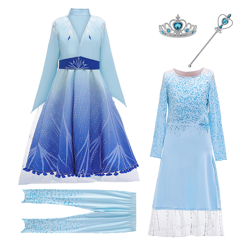 Snow Queen 2 Cosplay Elsa Dresses For Girls Princess Anna Elsa Costumes Party Elza Vestidos Children Girls Clothing 4-12 Years