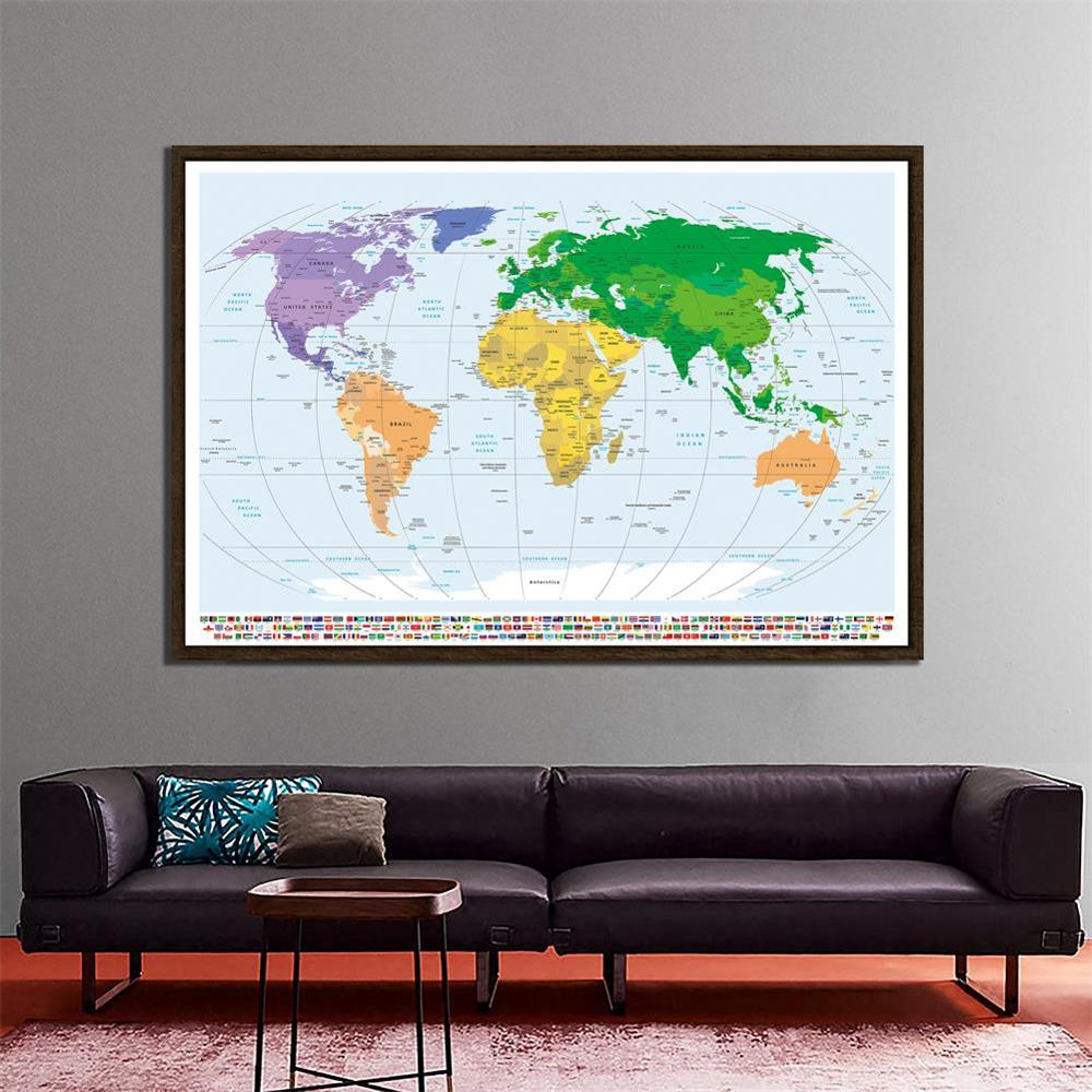 150x225cm The World Physical Map Mercator Projection Non-woven Waterproof Map With National Flags