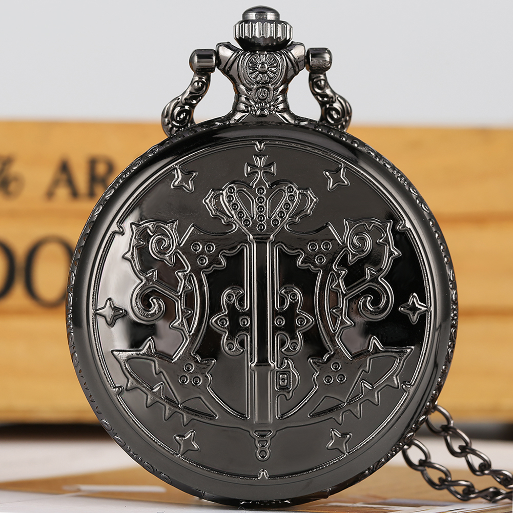 Engraved Pocket Watch Black Butler Theme Quartz Pocket Watch Large White Round Dial Pocket Watches Alloy Necklace Chain Pendant