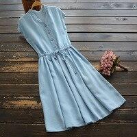 Blue Summer Women's Dresses Sleeveless A line V neck 2019 Korean Fashion Large Size Dress for Women Solid Slim Vestidos Sarafan