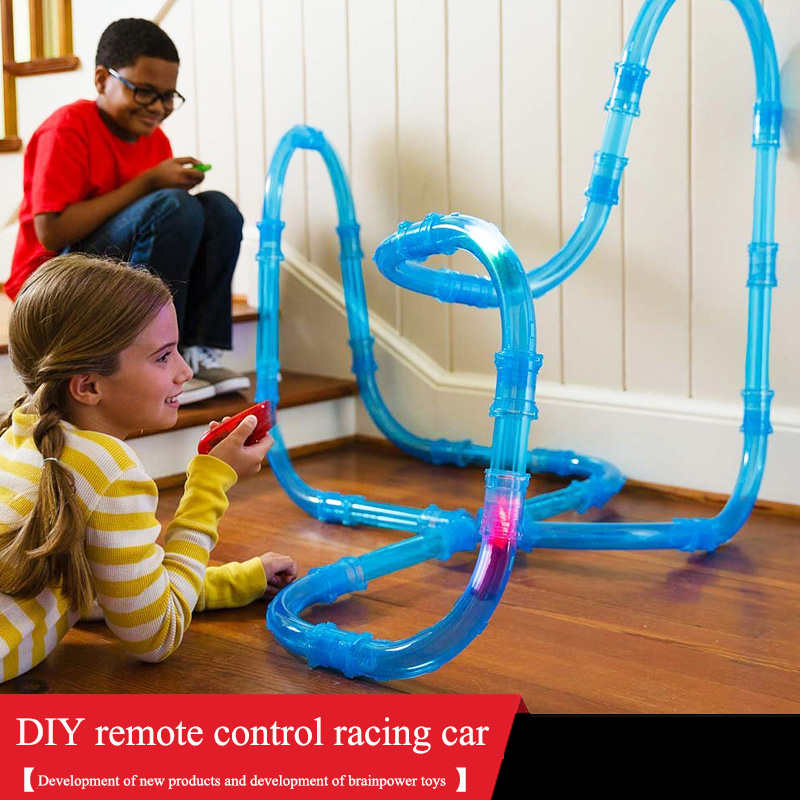 RC Car Toy Remote Control Speed Pipes Racing Track Car Toys Flash Light DIY Building Tube Set Kids Pipes Racing Trucks Car Toys