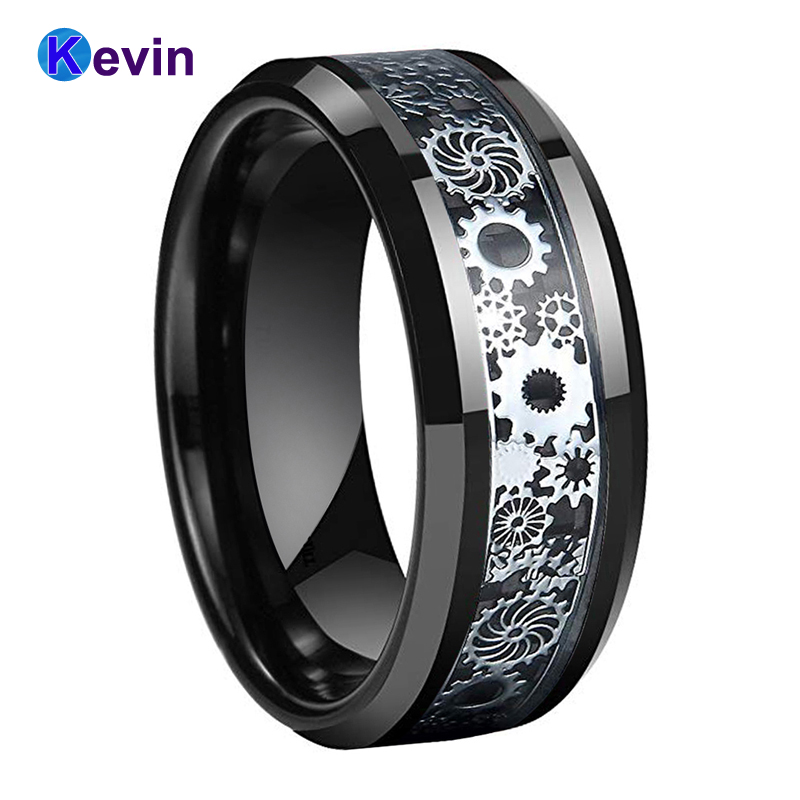 Mens Womens Wedding Band 8MM Gear Ring Tungsten Carbide Ring With Gear wheel Black Carbon Fiber Inlay