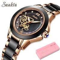 יהלומי משטח קרמיקה רצועת שעון SUNKTA אופנה עמיד למים נשים שעונים למעלה מותג יוקרה קוורץ שעון נשים Relogio Feminino