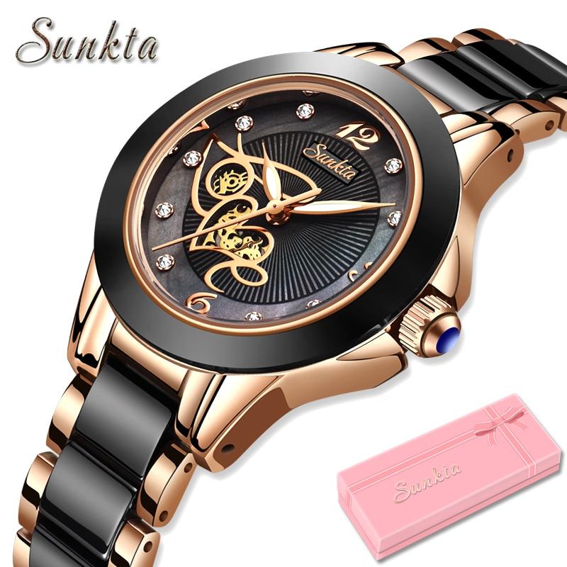 Diamond Surface Ceramic Strap Watch SUNKTA Fashion Waterproof Women Watches Top Brand Luxury Quartz Watch Women Relogio Feminino