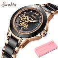 Reloj con correa de cerámica con superficie de diamante SUNKTA a la moda relojes impermeables para mujer, reloj de cuarzo de lujo de marca superior, reloj femenino para mujer