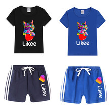 Boy and Girl Likee Funny T Shirt Kid's Animal Cat T Shirt Shorts Set Children Tops+Pants Outfits Set Cat Clothing Sets,Drop Ship cat embroidered drop shoulder knotted hem shirt