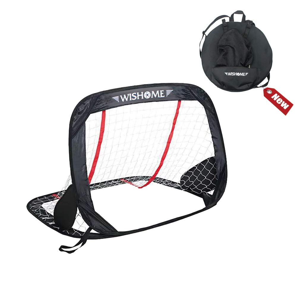 WISHOME Portable Soccer Goal Net For Kids Pop-Up Futbol Gate For Backyard Outdoor Toys With Carrying Backpack Gift For Children