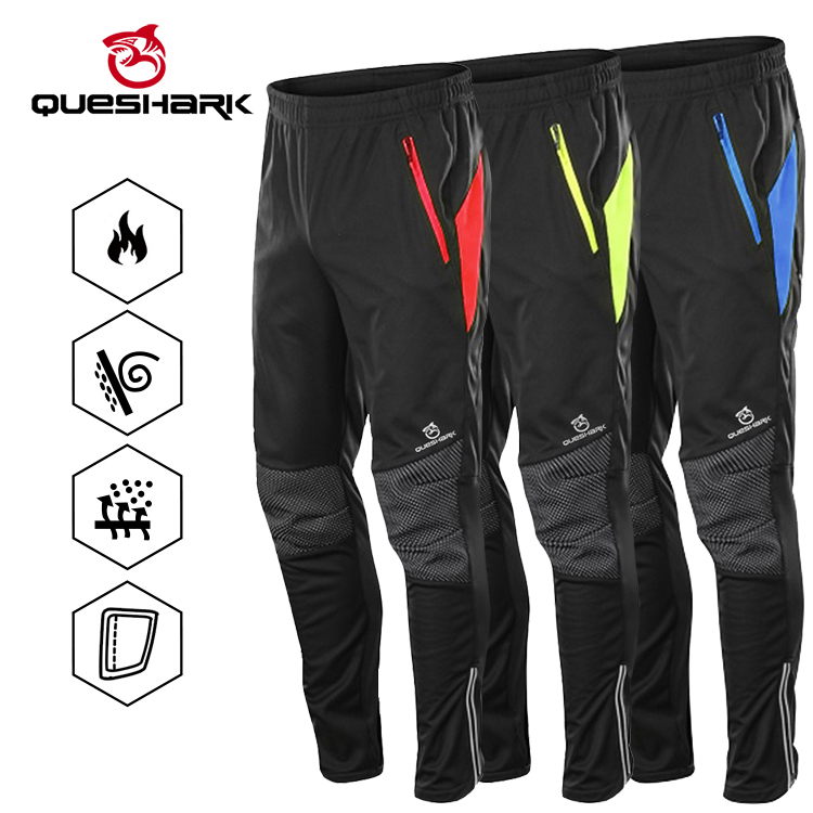 Queshark Winter Warm Fleece  Windproof Waterproof Cycling Pants Men Women Thermal Riding Sports Trousers MTB Bike Bicycle Pants