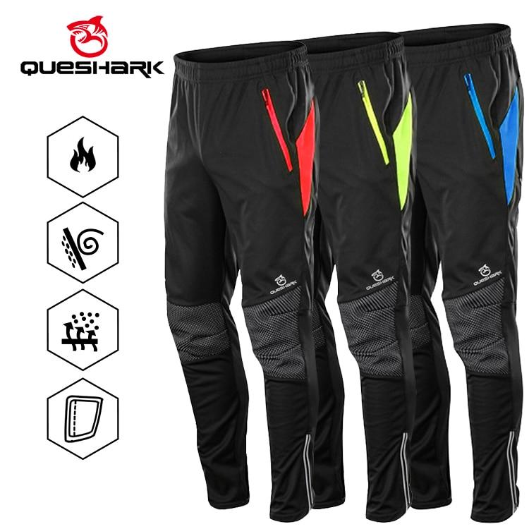 Queshark Winter Warm Fleece  Windproof Waterproof Cycling Pants Men Women Thermal Riding Sports Trousers MTB Bike Bicycle Pants