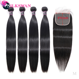 Silkswan Straight Human Hair Bundles With Closure Transparent Lace 28 30 32 Inch Brazilian Remy Hair Bundles With 5x5 HD Closure