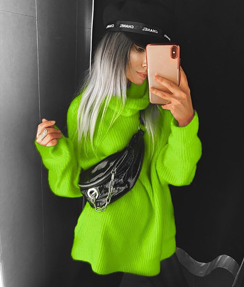 BOOFEENAA Fashion Turtleneck Oversized Sweater Winter Clothes Women Neon Green Pink Orange PulloverFashion high sweater