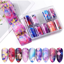 10pcs/box Nail Stickers Flower Transfer Foil Nails Decal Nail Art Decoration Mixed Designs DIY Tattoo Tip Holographic Sticker