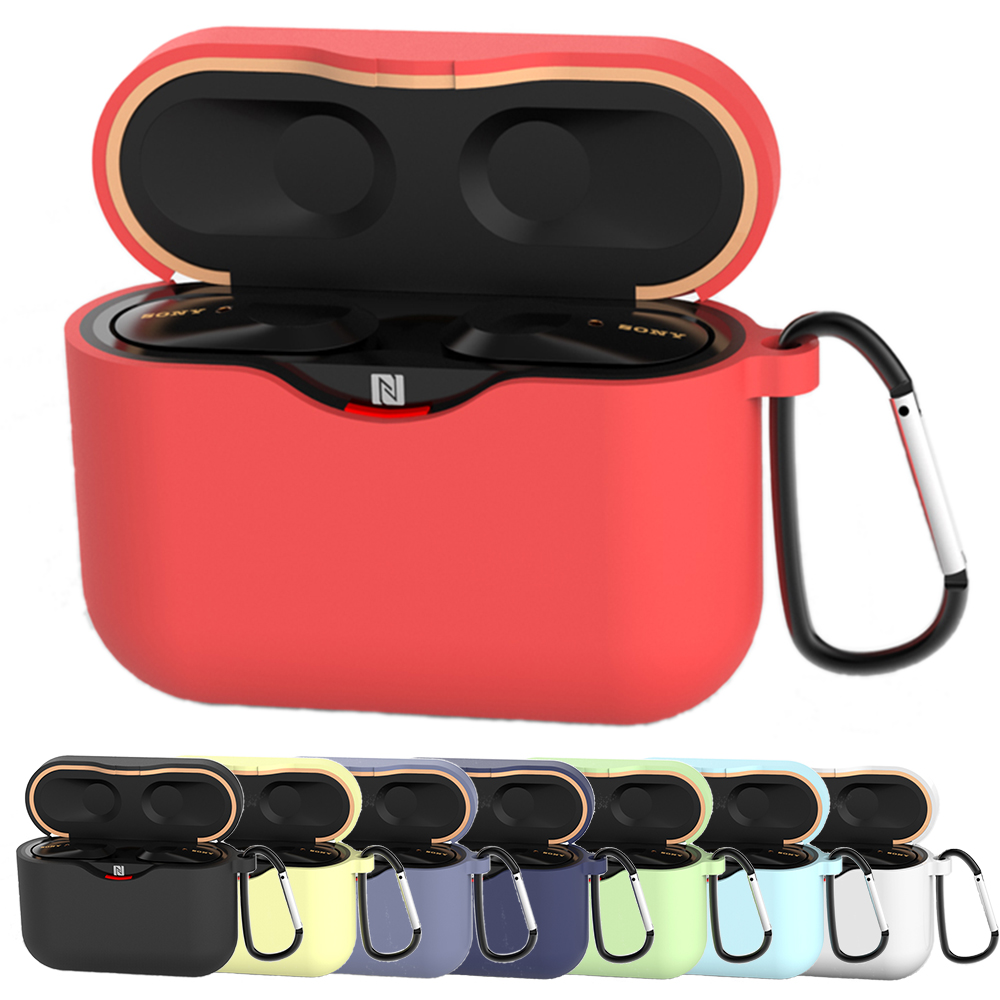 Silicone Earphone Case For SONY WF-1000XM3 Case Cover Skin For SONY WF 1000XM3 Case With Anti-lost Hook Fashion Candy Color