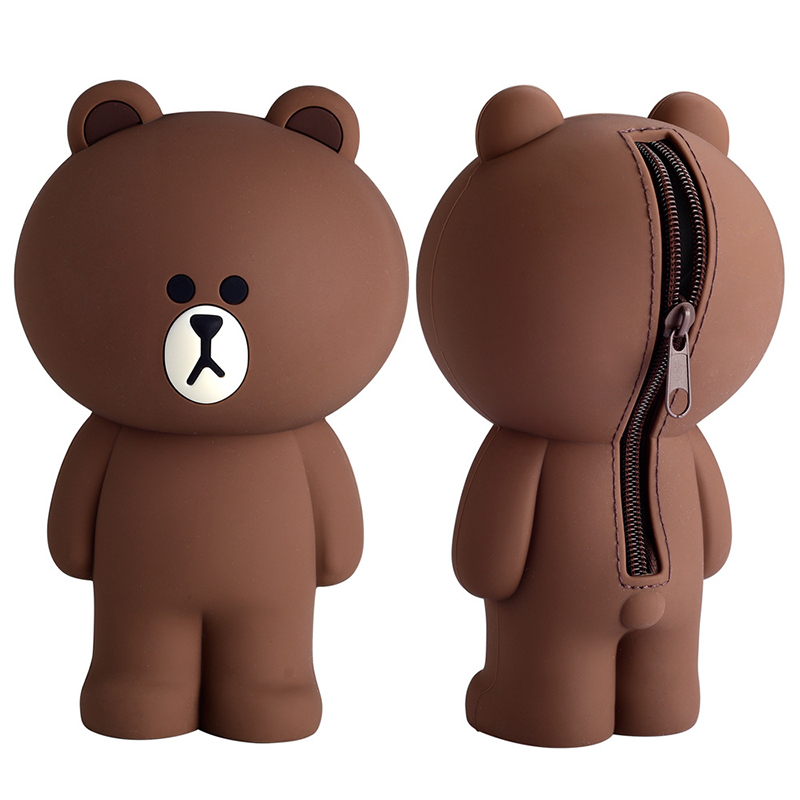 Cartoon Silicone Pencil Case Container Pencil Bags Kawaii Cute Brown Bear Rabbit 3D Pencilcase School Supplies Stationery Gifts