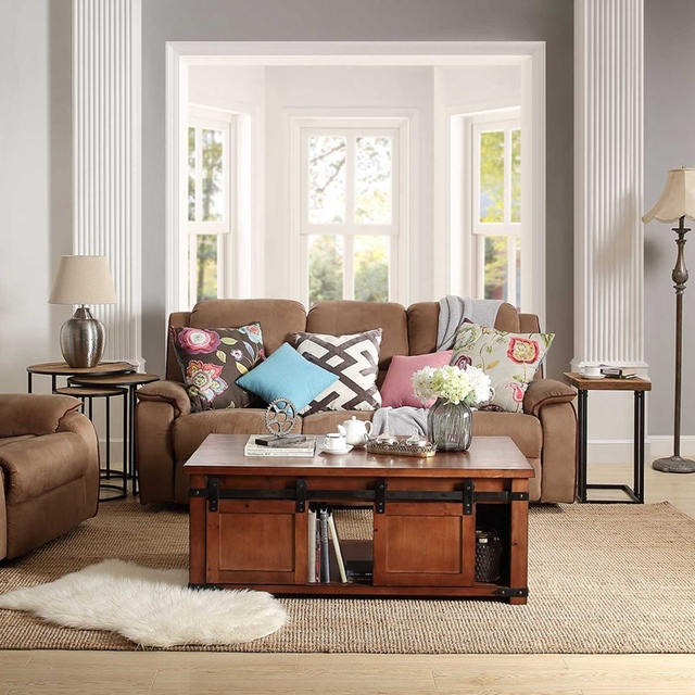 Coffee table With Storage Shelf and Cabinets, Sliding Doors 2