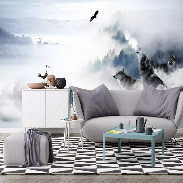 Customizable Fog Forest Scandinavian Minimalist Wolves Background Living Room Bedroom TV Background Wallpaper Mural Wall Cloth