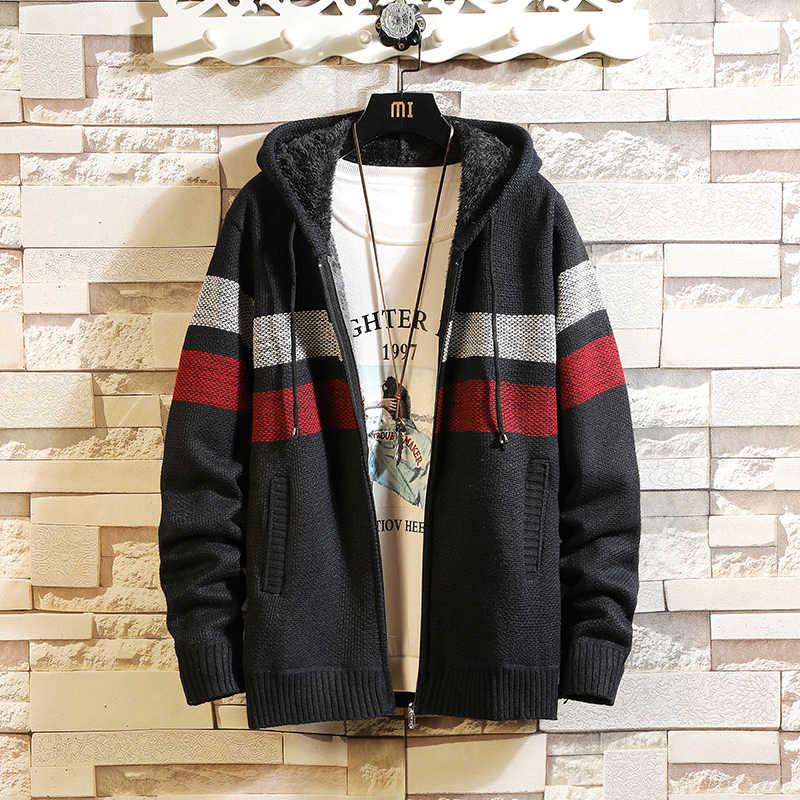 솔리드 컬러 새로운 두꺼운 패션 브랜드 스웨터 망 카디 건 니트 따뜻한 가을 일본 디자인 의류 플러스 크기 M-3XL