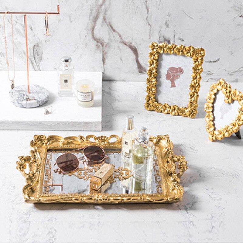 Plateau de rangement de verre en fer plaqué or   Plateau de rangement nordique en fer résine, plateau de miroir, plateau Vintage européen pour gâteau cosmétique bijoux et divers plateaux - 2