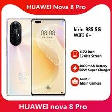 Oryginalny Huawei Nova 8 Pro 5G SmartPhone 6.72 ''120Hz ekran OLED Kirin 985 5G SOC 4000mAh bateria 66W Super ładowanie 64MP aparat