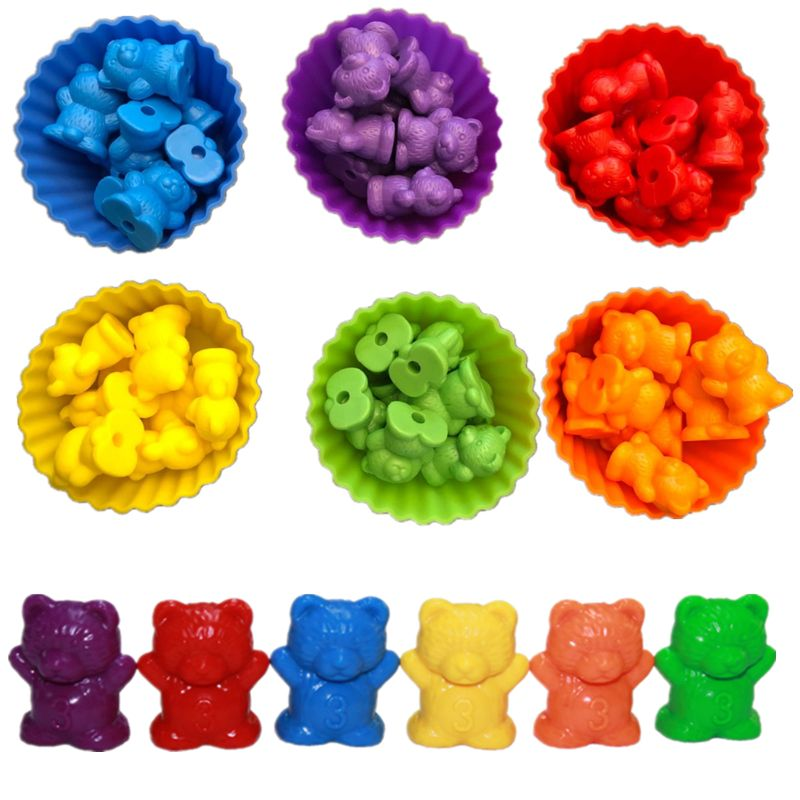 Counting Bears With Stacking Cups - Montessori Rainbow Matching Game Educational Color Sorting Toys For Toddlers Baby