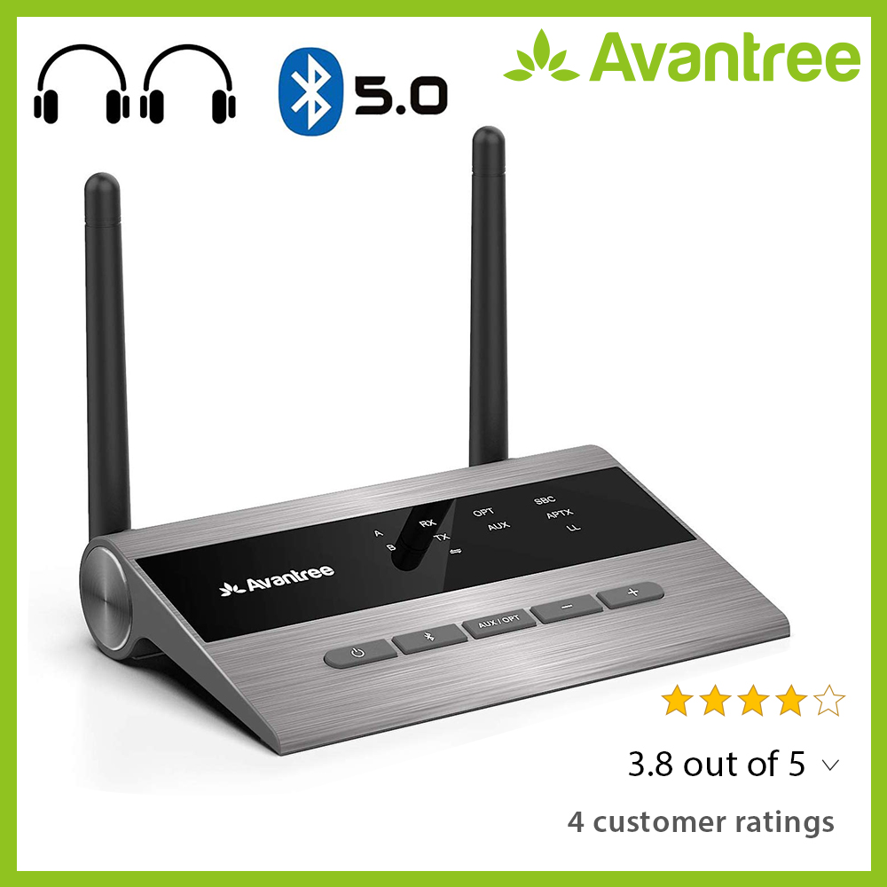 Avantree Long Range Bluetooth 5.0 Transmitter Receiver For TV & PC Audio,Home Stereo Speakers,aptX Low Latency Wireless Adapter
