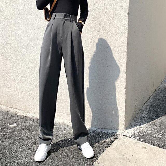 Chic High Waist Loose Straight Pants  2