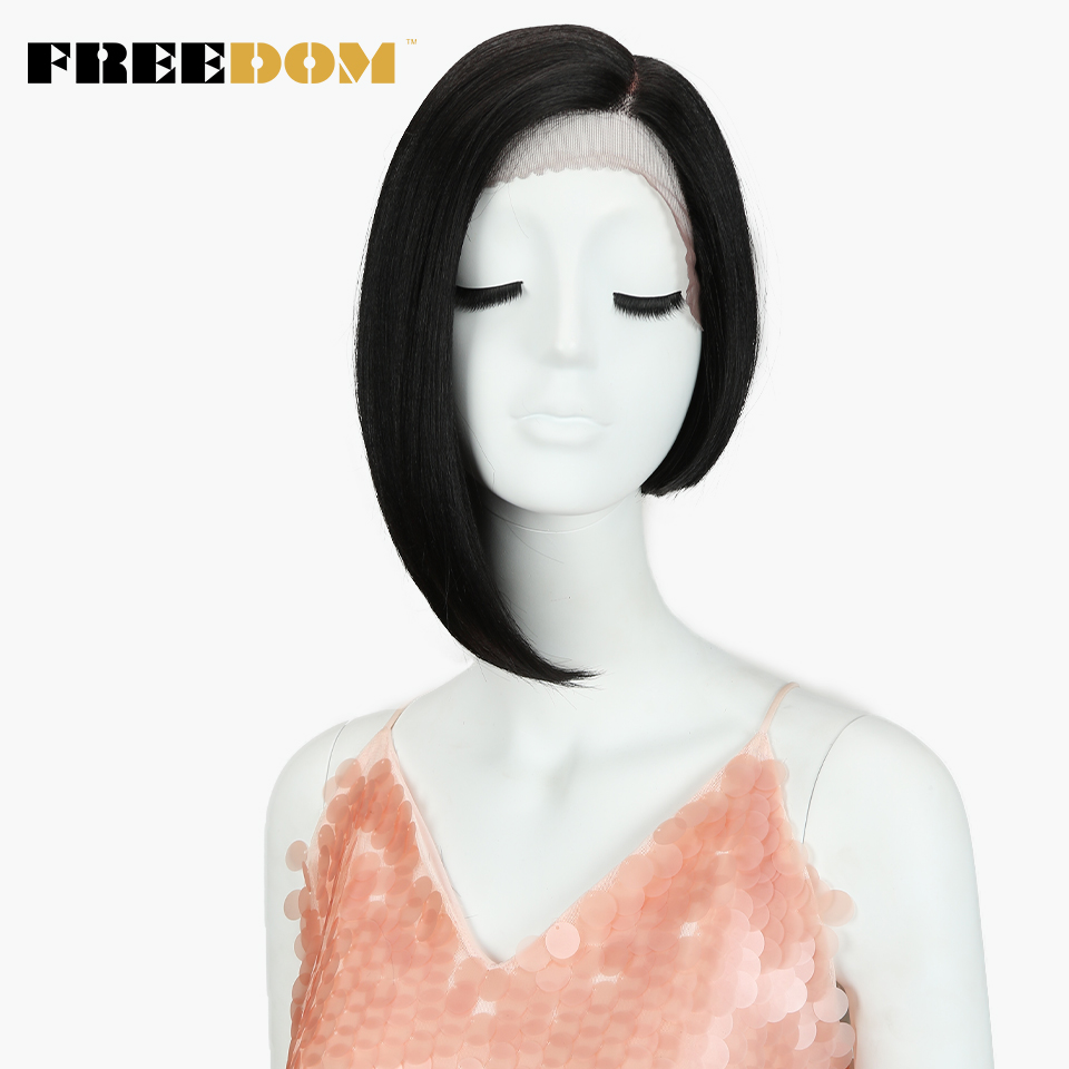 FREEDOM Straight Short Wigs For Black Women Fashion Asymmetry Colorful Lace Front Wig Synthetic Hair Heat Resistant Fiber