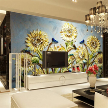 Custom large wallpaper 3d murals living room chrysanthemum oil painting TV background wall picture papel de parede